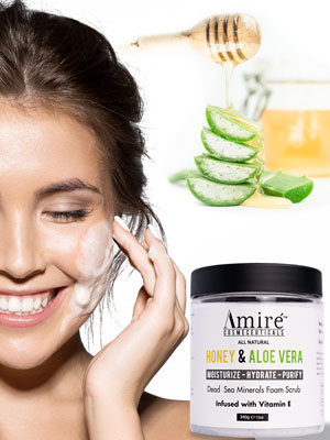 Honey Aloe Scrub on Face