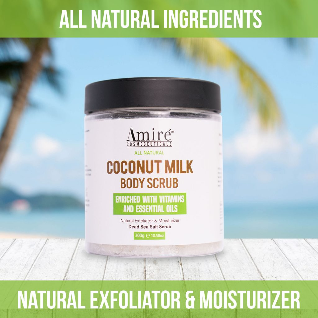 coconut milk body scrub with vitamins and essential oils dead sea