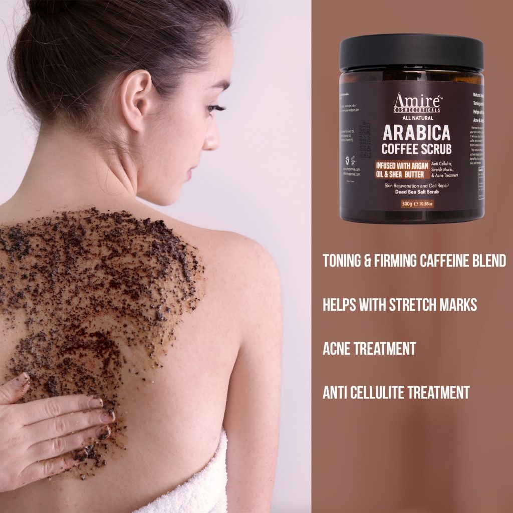 arabica coffee scrub exfoliating all natural argan oil shea butter anti cellulite stretch marks acne treatment