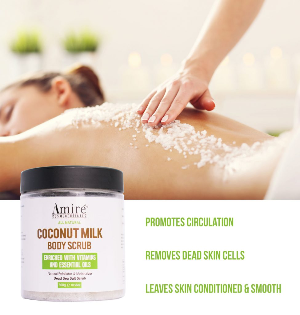coconut milk body scrub all natural exfoliator dead sea moisturizer