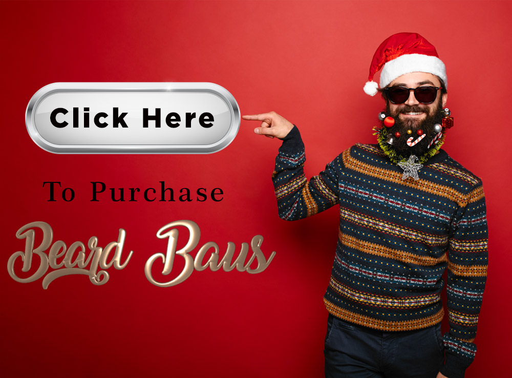 "Bearded man with a santa hat on pointing at a button that says ""Click Here"". By clicking on this photo, it will take you to the Amire Cosmetics page where you can purchase the Beard Baus Grooming Kit."