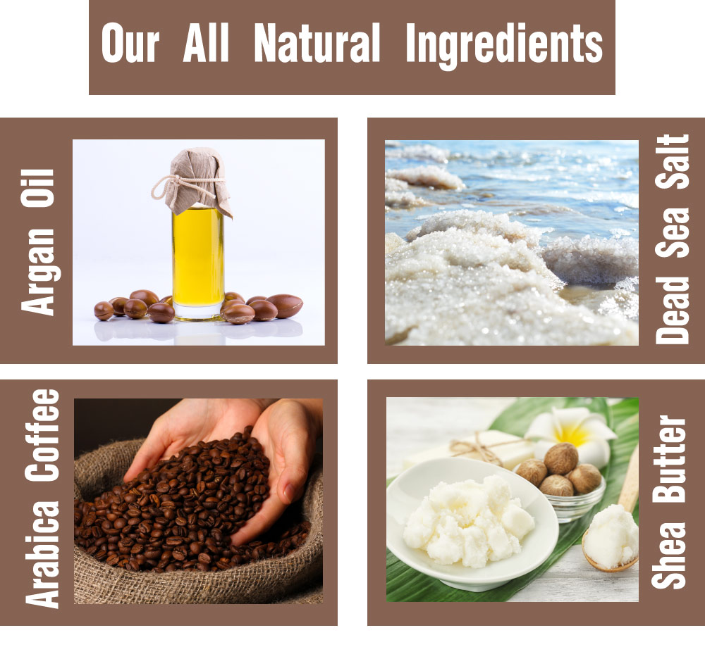 All natural ingredients of Amire Arabica Coffee Scrub