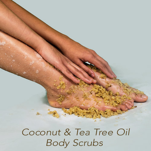 Foot model with Amire Cosmetics Coconut and Tea Tree Oil Body scrub on her calves, ankles and feet.