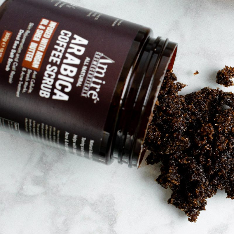 coffee-scrub amire cosmetics arabica coffee scrub infused with argan oil and shea butter dead sea salt scrub
