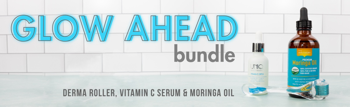 Glow-Ahead-Bundle-web-banner-moringa oil-vitamin c serum-derma roller-bathroom tiles