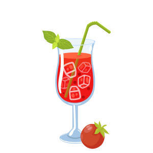 bloody mary illustration made with vodka and tomato juice