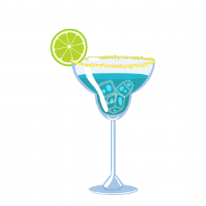 blue lagoon illustration in margarita glass made with blue curacao, lemonade and vodka