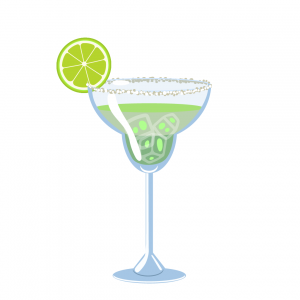 lime margarita illustration with lime lime slice, ice, and salt around the rim