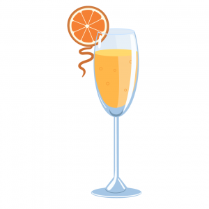 mimosa illustration made with orange juice and champagne, garnished with orange slice