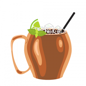 moscule mule illustration in copper mug with lime and mint leaf for garnish