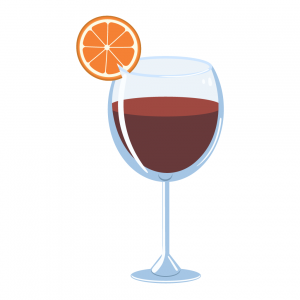 sangria illustration made with punch and wine and garnished with orange