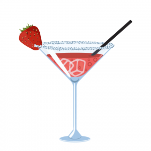 strawberry daquiri with sugar rim and ice and and strawberry for garnish