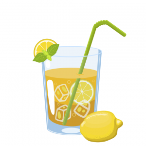 vodka lemonade with whole lemon and slice and mint leaf for garnish