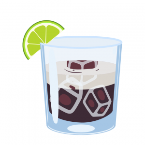 white russian illustration made with vodka, coffee liqueur, and heavy cream